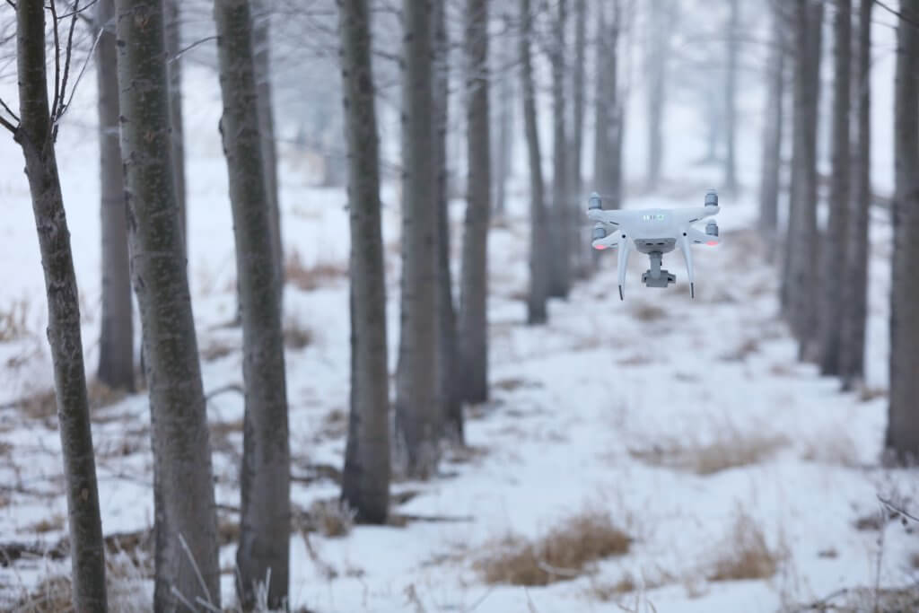 winter drone flying